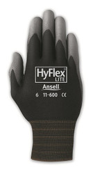 HyFlex Light-Duty Gloves, Cut Level 1, Black