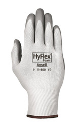 HyFlex Light-Duty Gloves, Foam Coated, Cut Level 1, White