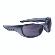 AGGRESSOR™ Safety Glasses, Silver Frame with Gray Lens, TPR Nose & Temples