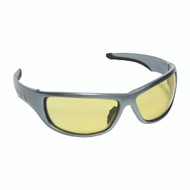 AGGRESSOR™ Safety Glasses, Silver Frame with Amber Lens, TPR Nose & Temples