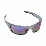 AGGRESSOR™ Safety Glasses, Silver Frame with Blue Mirror Lens, TPR Nose & Temples
