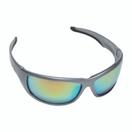 AGGRESSOR™ Safety Glasses, Silver Frame with Orange Mirror Lens, TPR Nose & Temples