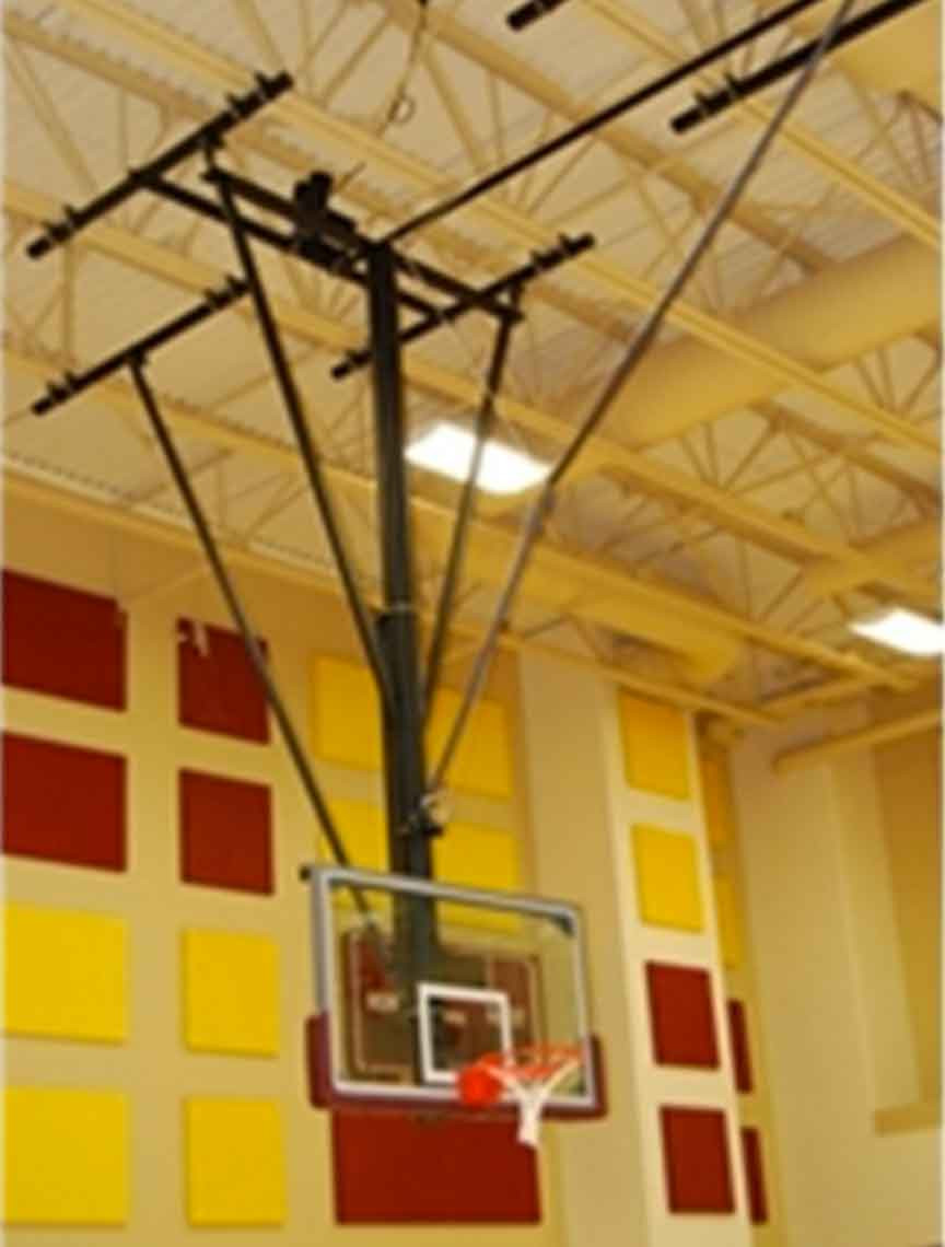 Indoor Forward Folding Ceiling Hung Basketball Goal/Backstop - Gared Sports  2203 Basketball Goal