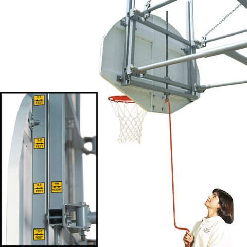 Bison Gymnasium Adjustable Height Wall Mounted Basketball System - Tall Board