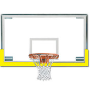Gold Spalding Superglass Collegiate and High School Basketball Backboard and Goal Package