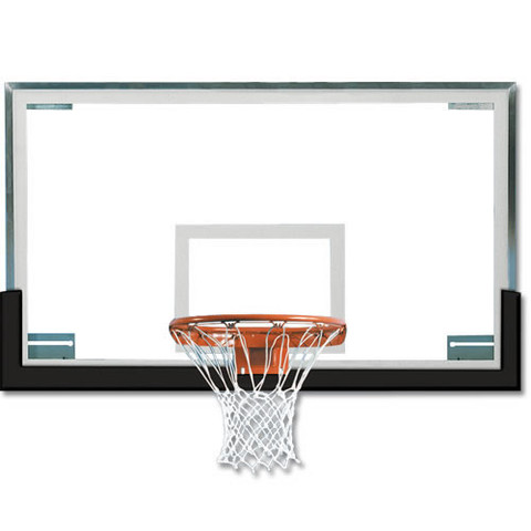 Navy Spalding Superglass Collegiate and High School Basketball Backboard and Goal Package