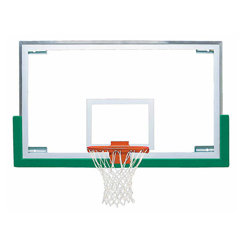 Bison Official High School Basketball System Backboard Rim and Columbia Blue Padding Package
