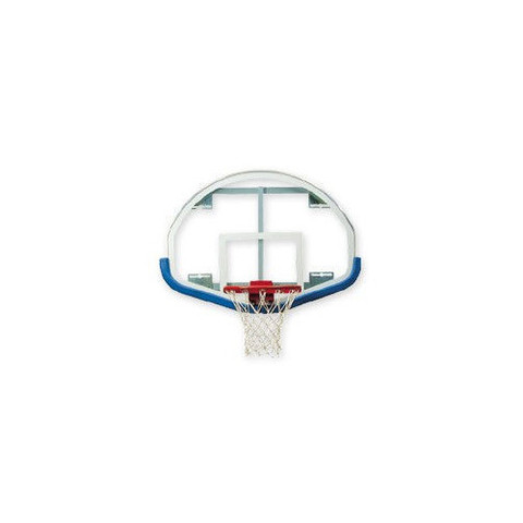 Bison Fan-Shaped Glass Basketball Backboard with Shooters Square and Royal Blue Padding