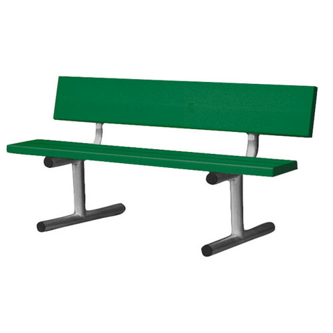 5' Portable Bench W/Back  - Dk Green