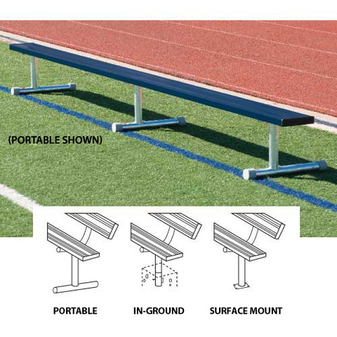 15' Permanent Bench w/o back (colored) - Navy