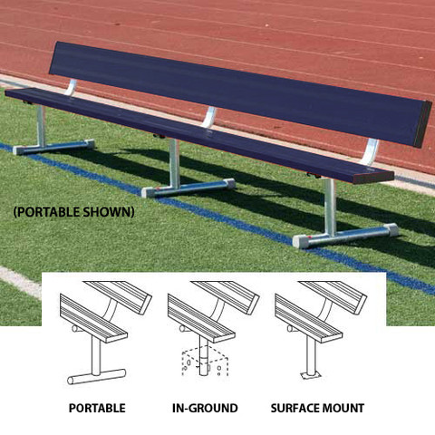 15' Surface Mount Bench w/back (colored) - Navy