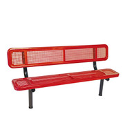 6' Bench w/ Back - In-Ground Perforated