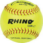 "12"" Softball Optic Yellow Leather Cover - 47 Cork Core"