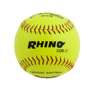 "11"" Softball Optic Yellow Leather Cover - 47 Poly Core"