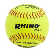 "12"" Softball Optic Yellow Leather Cover - 47 Poly Core"