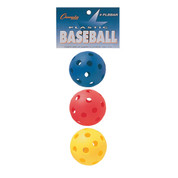 Assorted Color (Red, Blue, Yellow) Plastic Baseball Retail Pack 9""