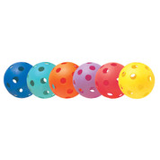 Assorted Color (Green, Orange, Purple, Red, Blue, Yellow) Plastic Softball Set of 6 - 12""