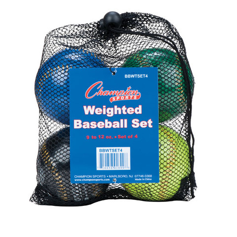 Weighted Training Baseball Set of 4 Assorted Colors
