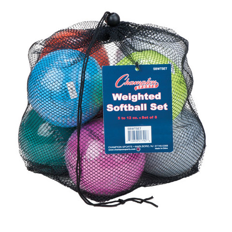 Weighted Training Softball Set of 8 Assorted Colors