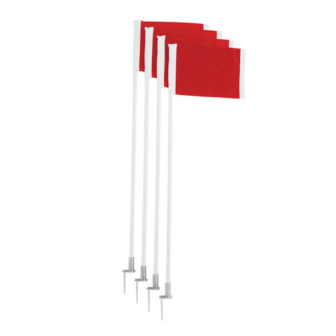 Spring Loaded Steel Base Red Soccer Corner Flags