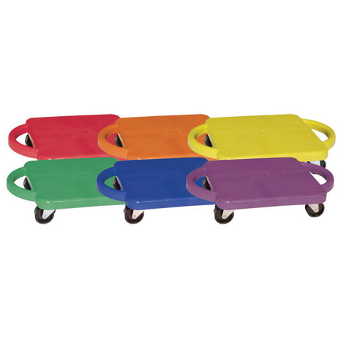 12-Inch Plastic Multicolor Scooters With Handles, Set of 6