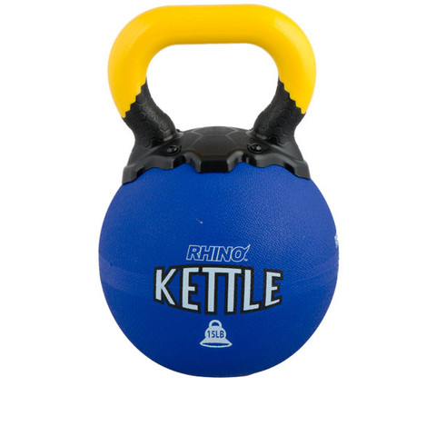 Rubber Exercise Kettle Bell 15lb Rhino� Blue