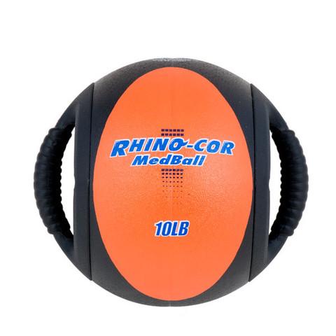 Dual Handle Medicine Ball 10lb Rhino-Cor� Orange