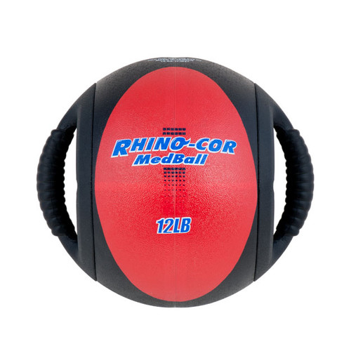 Dual Handle Medicine Ball 12lb Rhino-Cor� Red