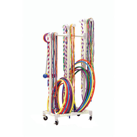 Plastic Mobile Jump Ropes and Hoops Cart - White