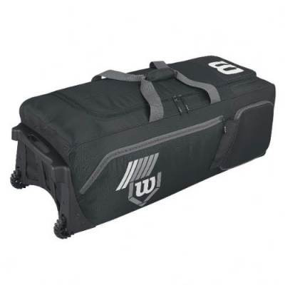 Wilson 2.0 Pudge baseball or softball equipment bag on wheels - black