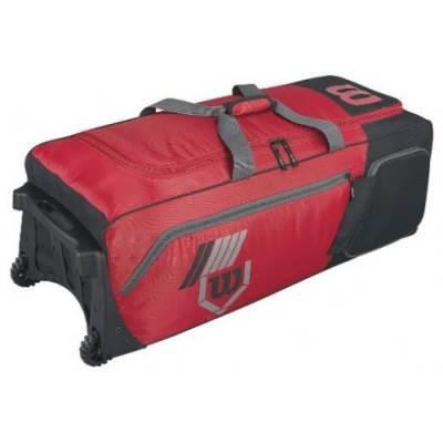 Wilson 2.0 Pudge baseball or softball equipment bag on wheels - scarlet red