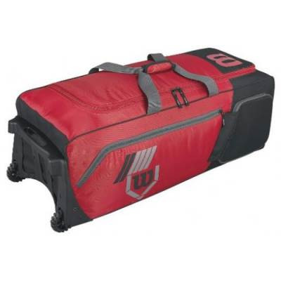 Wilson 2.0 Pudge baseball or softball equipment bag on wheels - scarlet red