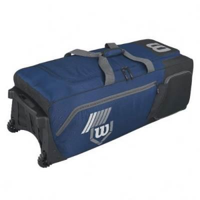 Wilson 2.0 Pudge baseball or softball equipment bag on wheels - navy blue