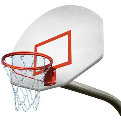 4' extension gooseneck basketball goal system with double rim and chain net.