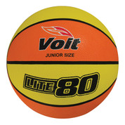 Junior Size Voit Lite 80 Orange and Yellow Rubber Basketball for Indoor or Outdoor Play