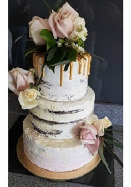 Naked and Rose Wedding Cake