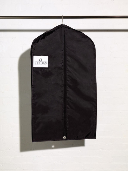 Picture of a heavy duty black suit cover bag with shirt accessory pocket and side gusset