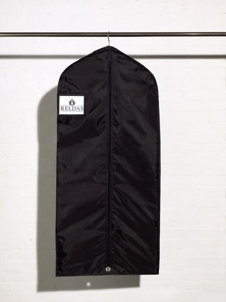 Picture of a heavy duty black coat dress cover bag with shirt accessory pocket and side gusset