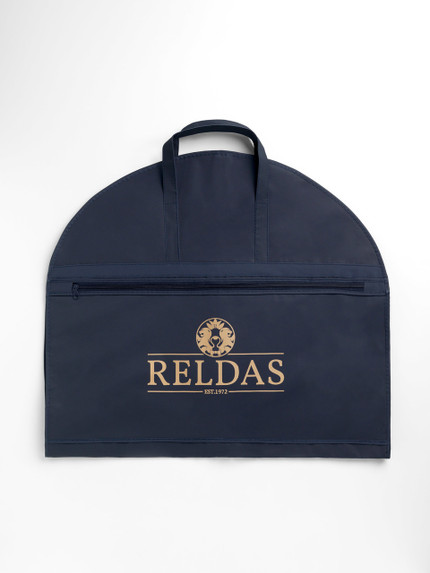 Picture of a Navy Handled suit cover bag with logo printed on