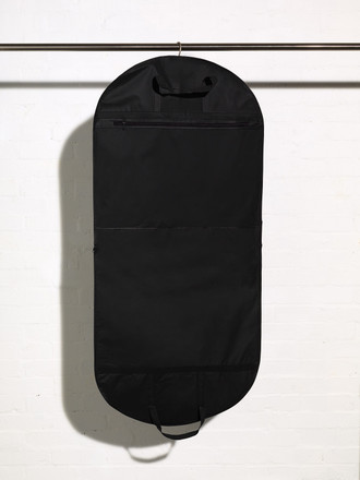 Picture of a black handled coat dress garment cover with accessory pocket