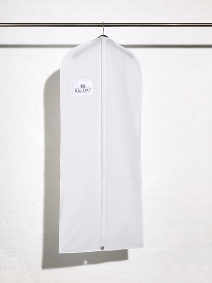 Picture of a white plastic dress cover bag with document holder