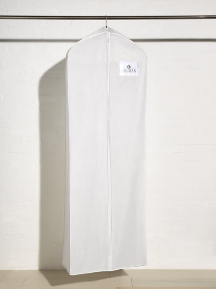 Full length picture of breathable wedding dress cover bag with side gusset