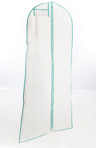 A Frame White and Turquoise Wedding Dress Cover
