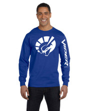 HANES BEEFY ROYAL BLUE LONG SLEEVE TEE