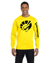 HANES BEEFY BRIGHT YELLOW  LONG SLEEVE TEE