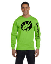 HANES BEEFY LIME GREEN LONG SLEEVE T SHIRT
