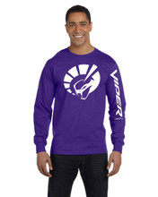 HANES BEEFY PURPLE LONG SLEEVE T SHIRT