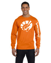 HANES BEEFY ORANGE LONG SLEEVE T SHIRT