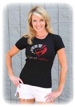 "LADIES CRYSTAL ""LIFE AT REDLINE!"" BLING T SHIRT"