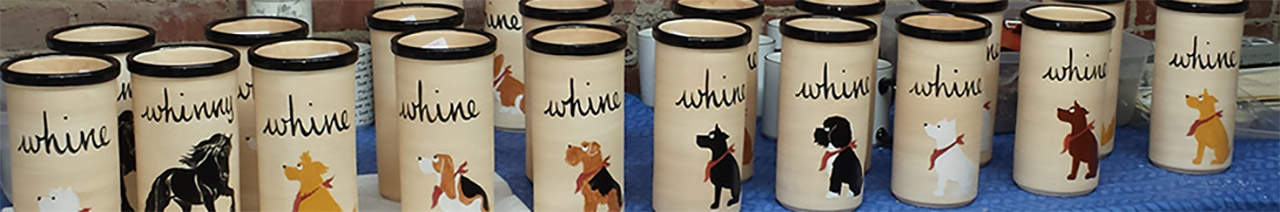Hand Painted Ceramic Whine Coolers by Zeppa Studios